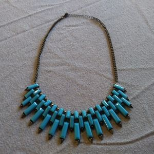 Lovely Blue And Silver Tone Pointed Egyptian Look